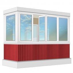 Остекление балкона ПВХ Exprof с отделкой ПВХ-панелями без утепления 3.2 м Г-образное