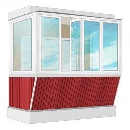 Остекление балкона ПВХ Exprof с выносом и отделкой вагонкой с утеплением 2.4 м П-образное