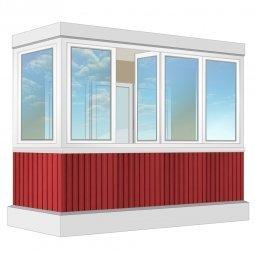 Остекление балкона ПВХ Rehau с отделкой вагонкой с утеплением 3.2 м П-образное