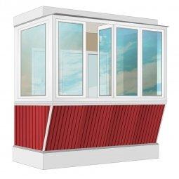 Остекление балкона ПВХ Rehau с выносом и отделкой вагонкой без утепления 2.4 м Г-образное