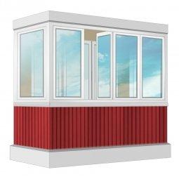 Остекление балкона ПВХ Exprof с отделкой вагонкой без утепления 2.4 м П-образное