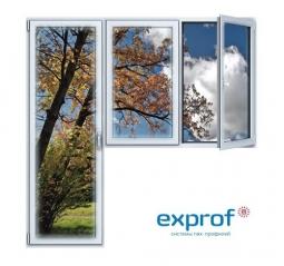 Балконный блок ПВХ Exprof 2100х2100 мм 2-ЛГ-ППО 3 стеклопакет