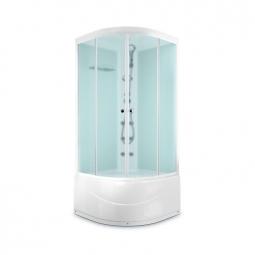 Душевая кабина Domani Spa Light 110 high 1000х1000х2180 сатин матированное стекло, белая панель