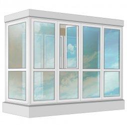 Остекление балкона ПВХ Rehau в пол 3.2 м П-образное